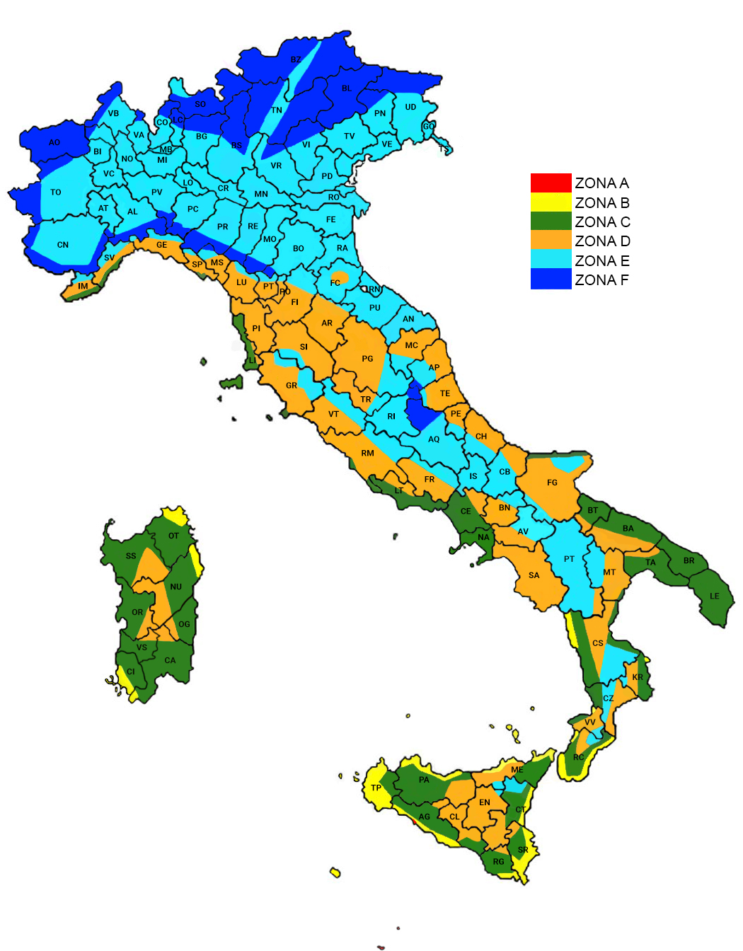 Mappa zone climatiche Italia
